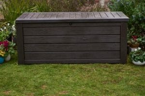 Keter Westwood 150 gallon resin storage bench