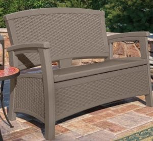 Suncast Elements storage bench with the resin wicker look
