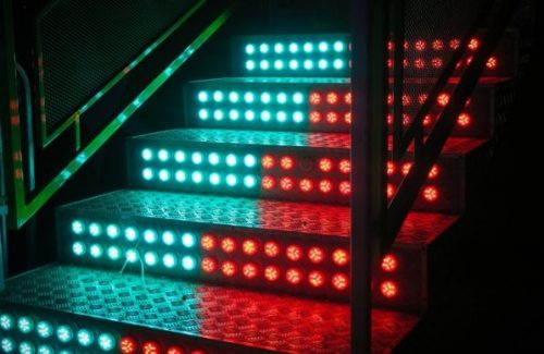LED lights on steps for safety
