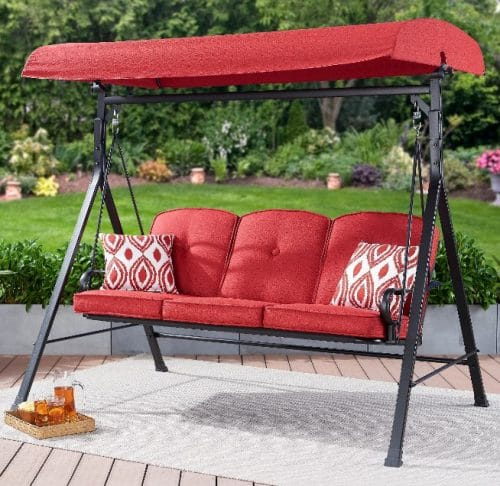 Mainstays Carson Creek Red Patio Swing with Canopy