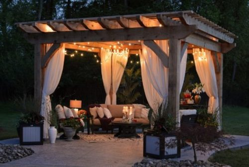 Pergola with outdoor LED lighting for patios