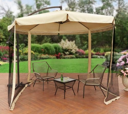 Better Homes and Gardens 11 Foot Offset Patio Umbrella with Mosquito Screen