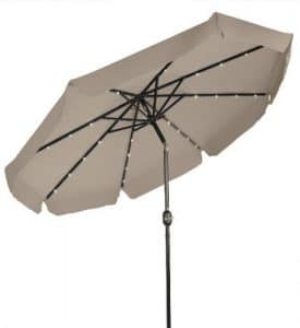 Deluxe 9 foot umbrella with solar lights