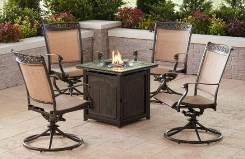 Hanover Collection of 4 Patio Chairs and Fire Pit sets