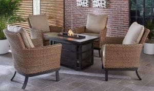 Hanover Slater Patio Furniture with a Fire Pit