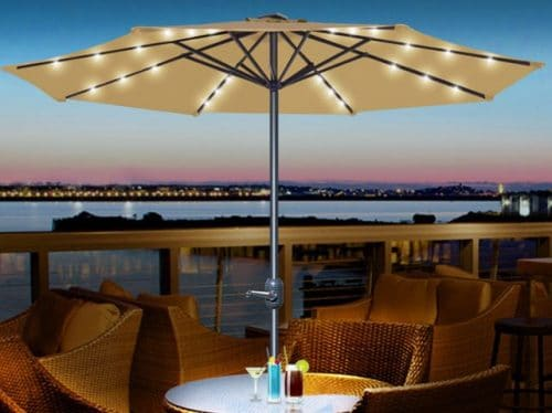Patio Umbrella with Led Solar Lights