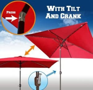 Strong Camel retangular umbrella with lights
