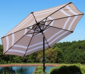Patio Umbrella with Solar Lights-Sunnydaze 9 foot