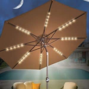 Sunrise 9 foot Patio umbrella with LED solar lights