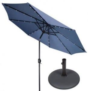 Patio Umbrella with Solar Lights-Trademark Innovations 10 foot