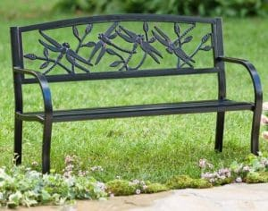 Dragonfly Metal Garden Bench