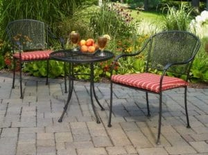 Mainstays Wrought Iron Bistro set with cushions