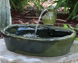 Sunnydaze Green Glazed Dove Solar Powered Water Fountain