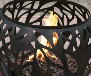 Coral Coast Cypress fire pit flame