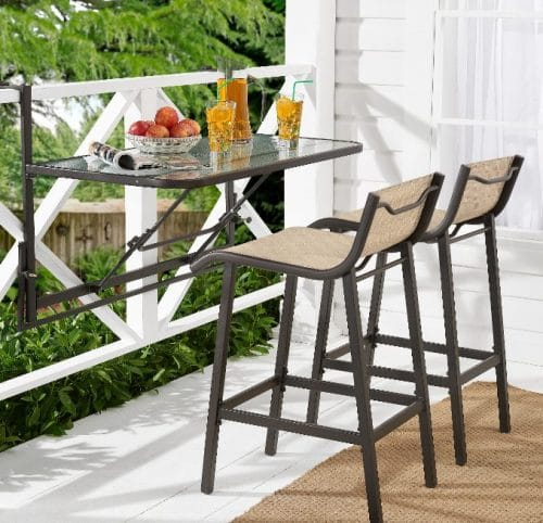 Mainstays Crowley Park Bar Height Bistro Patio Sets with Fold-Down Table