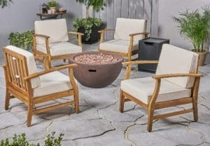 Ingles Acacia wood chat set with a gas fire pit