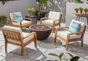 Jamie Acacia wood chat set with a gas fire pit