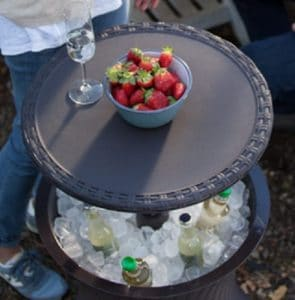 Keter side table with ice and cool drinks