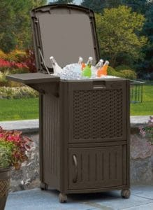 Suncast patio cooler with storage