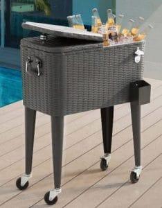 Sunjoy rolling patio beverage cooler
