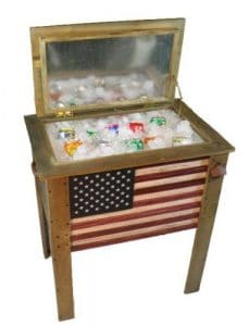 Wooden 57 quart American Flag patio cooler