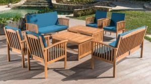Jenny 8 piece Acacia Wood Patio Chat Set