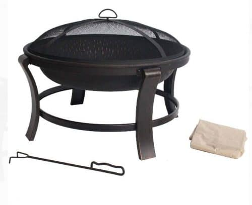 Covers for fire pits-Mainstays 30 inch round wood burning fire pit