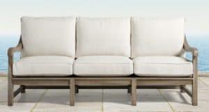 Hamptons teak three seat sofa