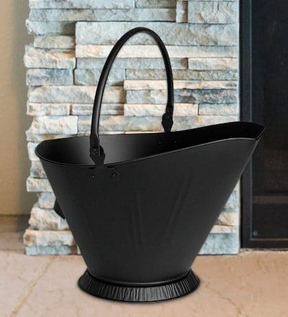Black Metal Ash Bucket for Outdoor Fire Pits