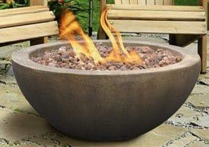 Mondavi fire pit for wood deck