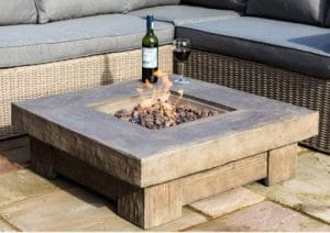 Peaktop fire pit for wood deck
