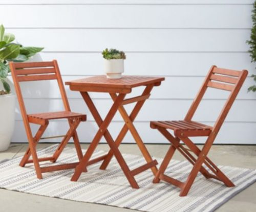Malibu wood folding bistro set