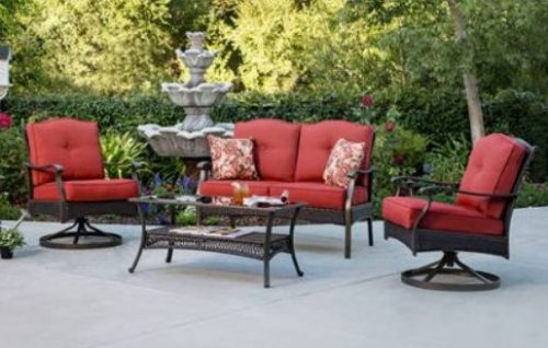 Providence Red cushioned patio conversation set
