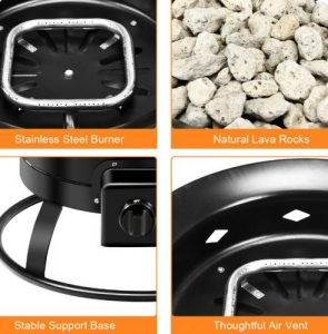 Costway Portable Fire Pit for Camping features