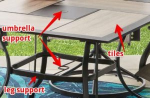 Mainstays Westmont Hills Patio Furniture Dining Sets table details