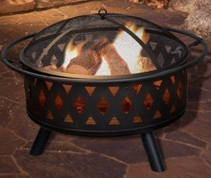 Pure Gardens Crossweave Round Fire Pit with Covers