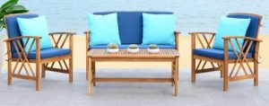 Safavieh Fontana acacia wood Patio Furniture with Love Seat