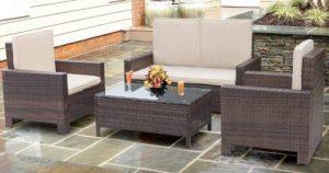 Walnew 4 Piece Outdoor Wicker Patio Furniture