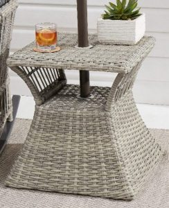 Better Homes & Gardens Belfair Patio Gray Wicker Umbrella Stand Table