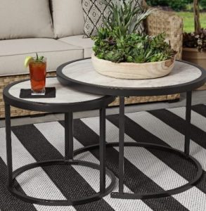 Better Homes & Gardens River Oaks Wicker Patio Conversation Set nesting tables