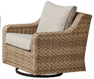 Better Homes & Gardens River Oaks Wicker Patio Conversation Set swivel chair
