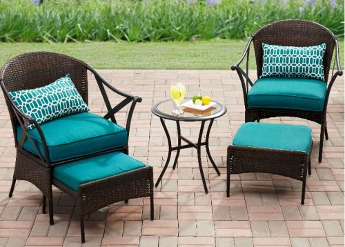 Outdoor Bistro Set with Ottoman-Mainstays Skylar Glen