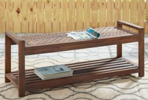 Manor Park Chevron Acacia Wood outdoor backless bench