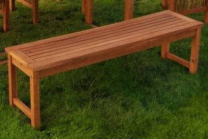Solid Wood Outdoor Backless Bench
