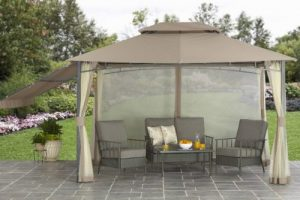 Outdoor Screened Gazebo-Better Homes & Gardens Parker Creek Cabin Style Gazebo