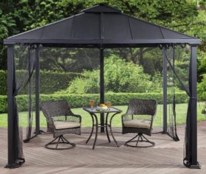 Outdoor Screened Gazebo-Better Homes & Gardens Sullivan Ridge 10' x 10' Hard Top Gazebo with Netting