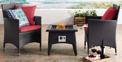 Convene 3 Piece Patio Set with Fire Pit