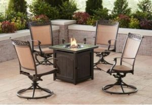 Hanover Fontana 4 swivel rockers with firepit