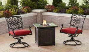 Patio Furniture Sets with a Gas Fire Pit-Hanover Traditions chat set with 2 swivel chairs