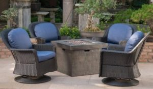 Patio Furniture Sets with a Gas Fire Pit-Outdoor 5 Piece Wicker Swivel Chairs with fire pit